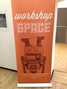 The workshop banner at MAKE:shift 2012